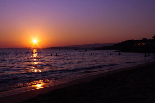 sunset sea beach kefalonia