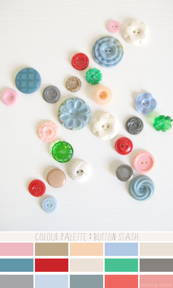 colour palette : button stash, curated by Emma Lamb / photograph © emma lamb