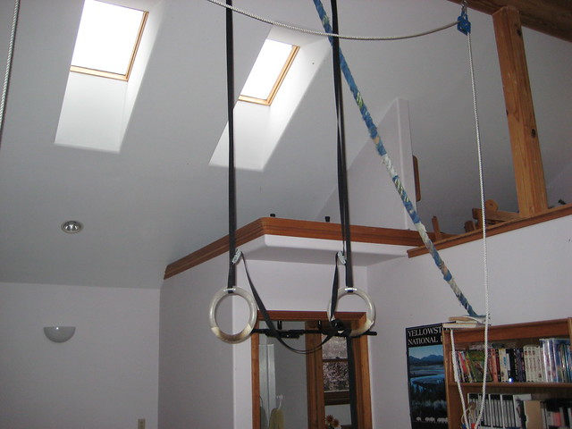 Home gym climbing rope and gymnastic rings flickr