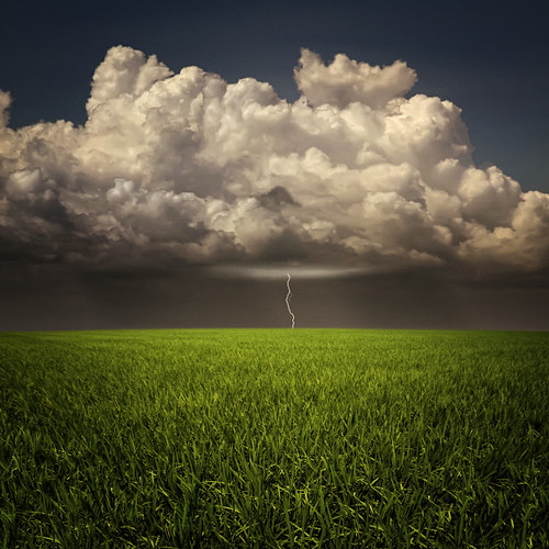 sky storm field grass clouds horizon lightning openfield