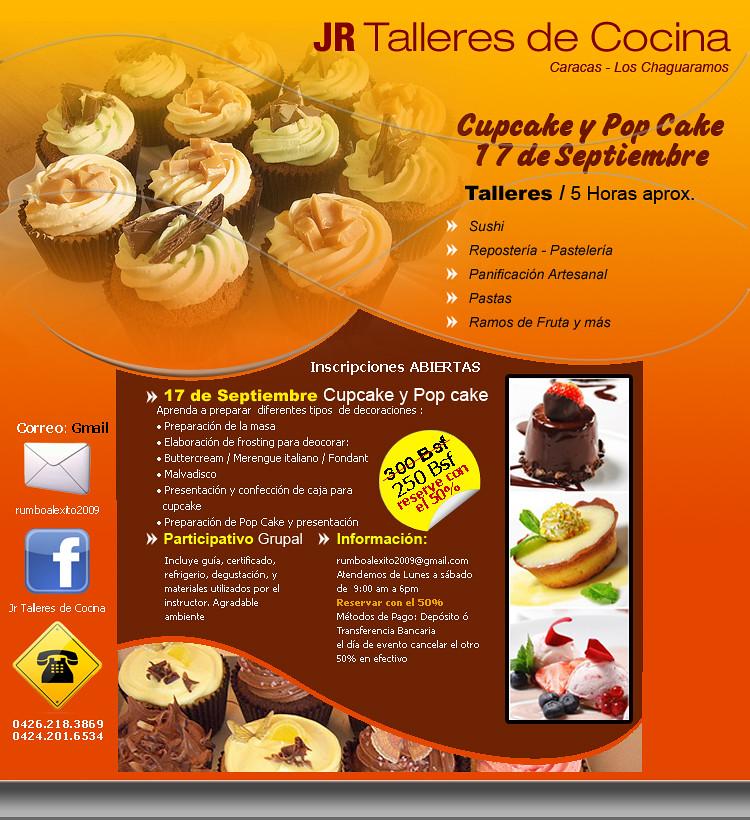 Talleres y cursos de cocina taller de cupcake y pop cake for Cursos de cocina gratis por internet