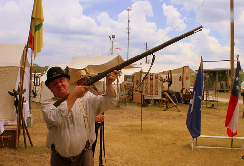 War Re-enactor fires a shot