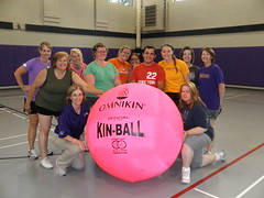 Employee participants in the Big Pink Volleyball Summer Clinic