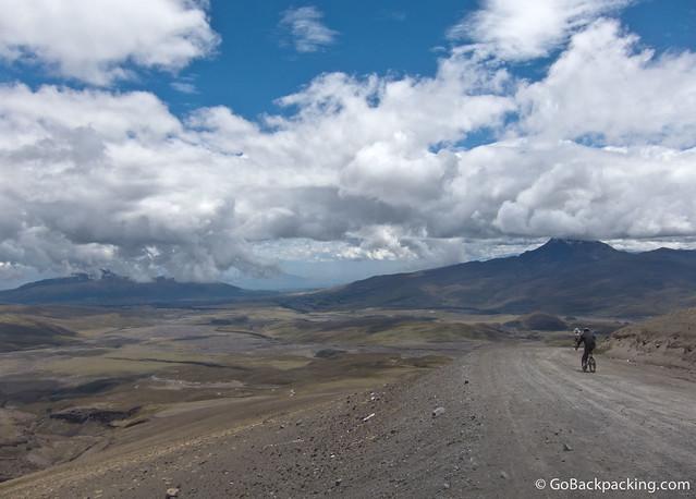 Mountain biking down Cotopaxi Volcano