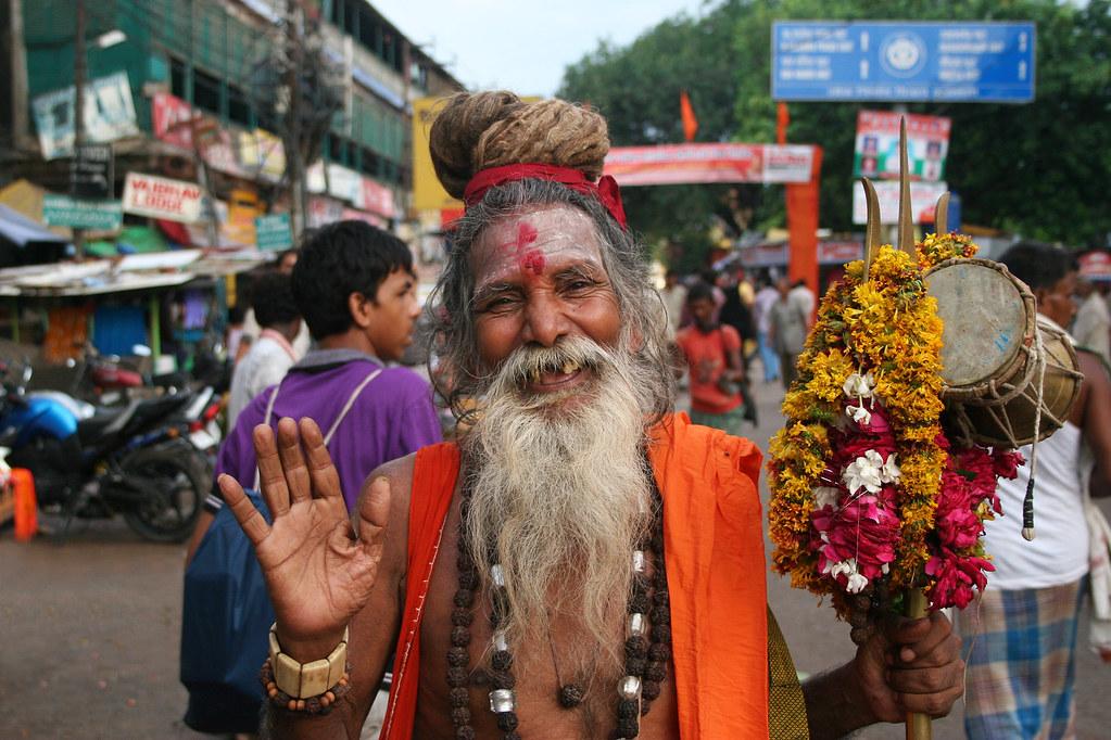 Portrait of a smiling Sadhu in Varanasi, India.