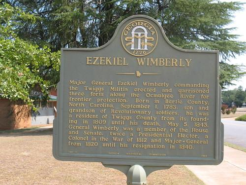 Ezekiel Wimberly Marker (GHC 143-7) Jeffersonville GA