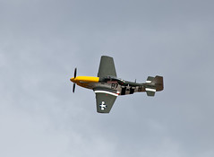 Yellow and gray plane flying