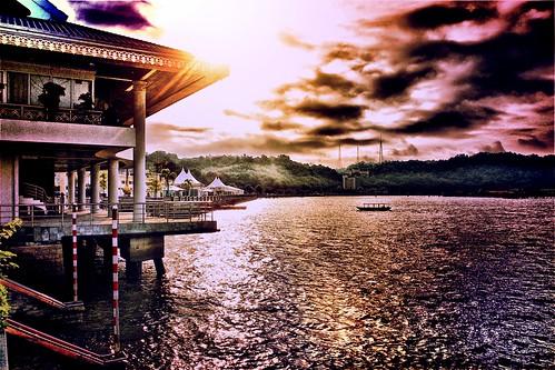water sunrise village waterfront brunei