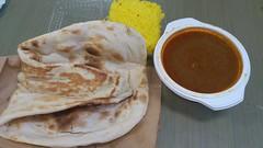 bread(0.0), baked goods(0.0), roti canai(0.0), meal(1.0), breakfast(1.0), flatbread(1.0), tortilla(1.0), roti prata(1.0), food(1.0), dish(1.0), roti(1.0), naan(1.0), cuisine(1.0), chapati(1.0),