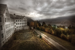 Alpine view abandoned sanatorium
