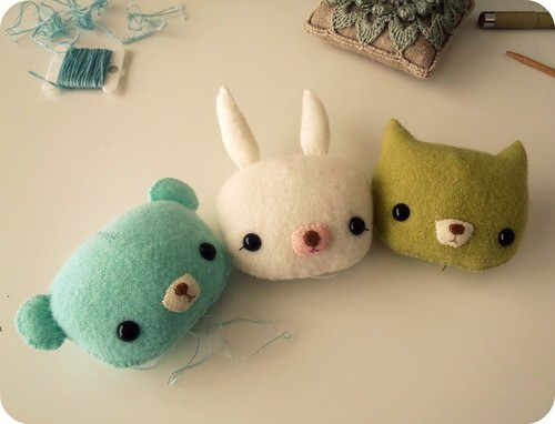 pocket teddy, bunny and kitty