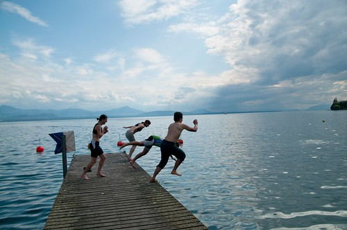 leaping on lake Geneva