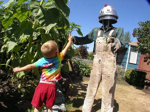 Maximilian with Robot Zombie Scarecrow
