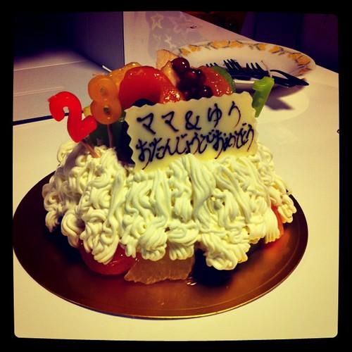 28と1歳の誕生日ケーキ