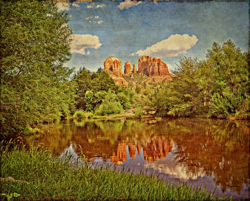 trees summer sky vortex southwest texture water grass clouds reflections hiking sunny zen cathedralrock swimminghole oakcreek sedonaarizona redrockcountry coth redrockcrossing hollywoodfilms oasisinthedesert tatot timinohio flickrstruereflection1