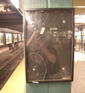 Self-portrait in NYC subway.