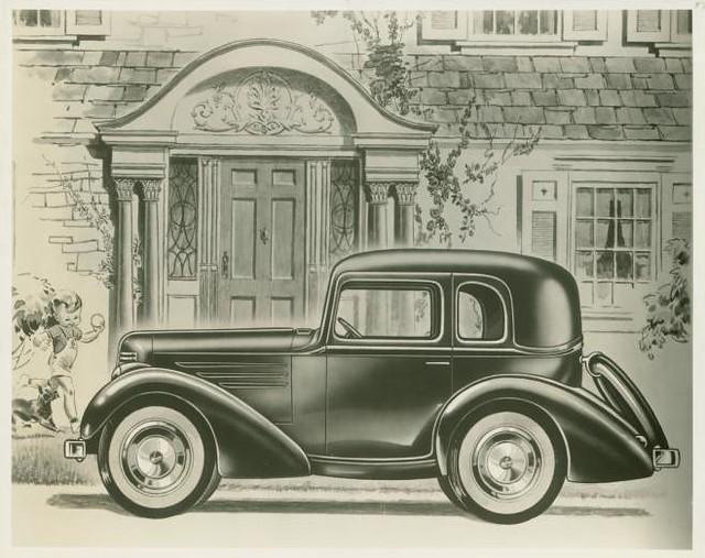 1937 American Bantam De Luxe & Standard Coupe brochure artwork