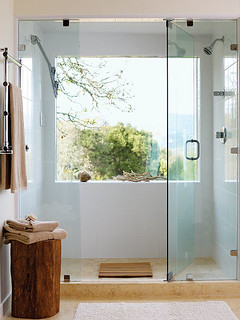 Glass Door & Swivel Showerhead