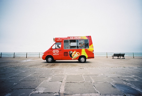 ice cream van on grey day