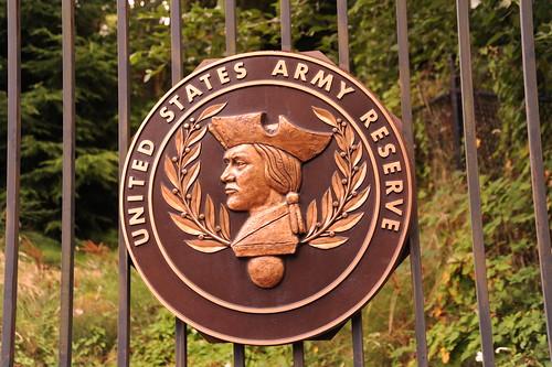 United States Army Reserve, Minute man, laurel leaves, emblem on metal gate, Seattle, Washington, USA by Wonderlane