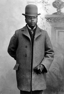Young Black Man in Top Hat and Wool Pant Coat - 1890