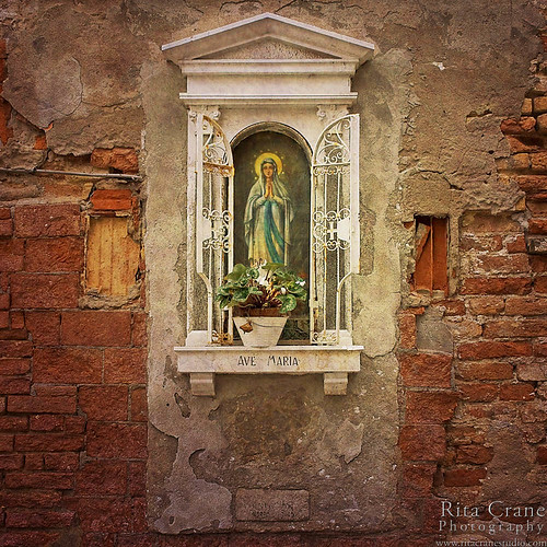 Rita Crane Photography:  Venice / Shrine / wall / texture / prayer / Virgin Mary / Ave Maria