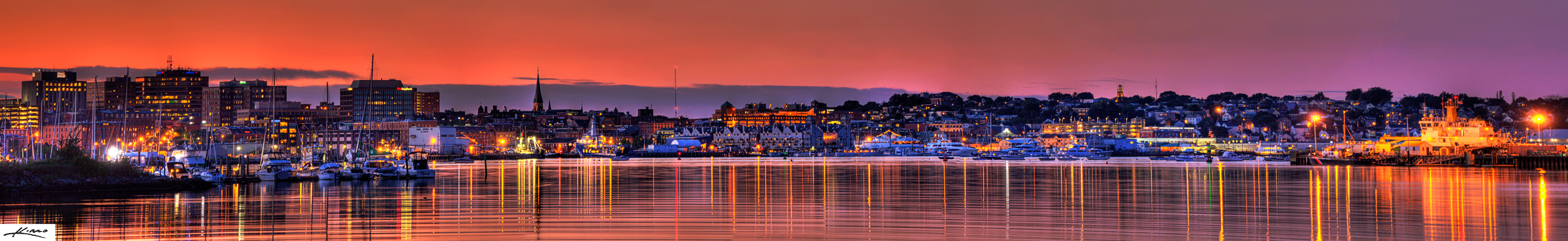 Portland Maine Cityscape Skyline at Sunset Panorama ...