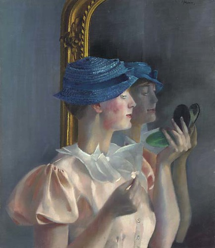 Felixmuller, Conrad (1897-1977) - 1933 Londa in Front of the Mirror in a Small Blue Hat
