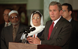 911: President George W. Bush at Islamic Center, 09/17/2001.