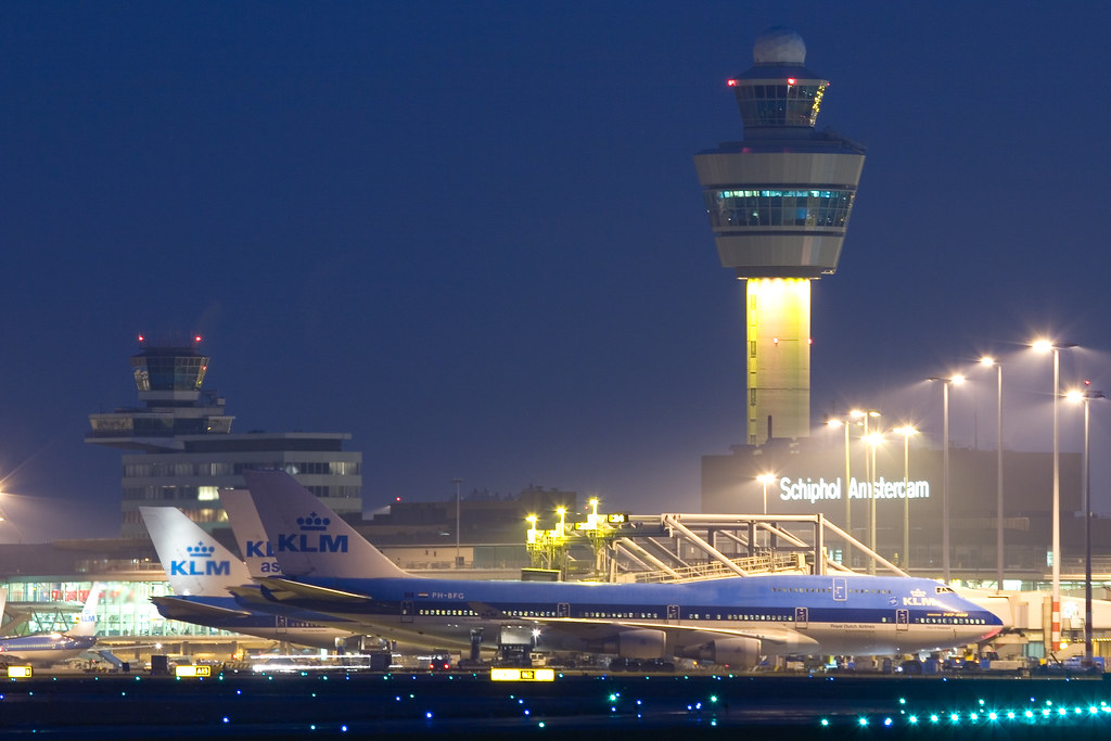 KLM widebodies in front of Schiphol Skyline