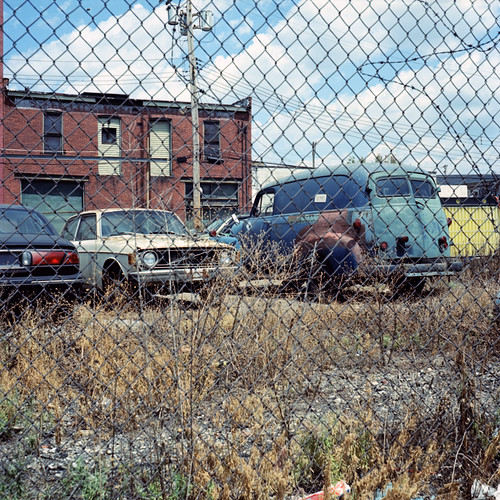 abandoned 120 6x6 tlr film mediumformat automobile pittsburgh kodak pennsylvania august chemistry 100 fenced eastliberty yashicamat ektar c41 2011 unicolor newtopographics cartifacts