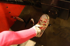 Sparkly shoes operating a 96yo automobile #ForneyMuseum