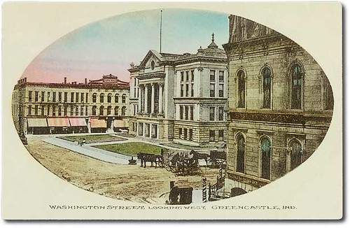horses usa signs color history buildings advertising awning clothing furniture indiana streetscene transportation courthouse theaters buggy buggies banks greencastle businesses wagons theatres barbers putnamcounty hoosierrecollections