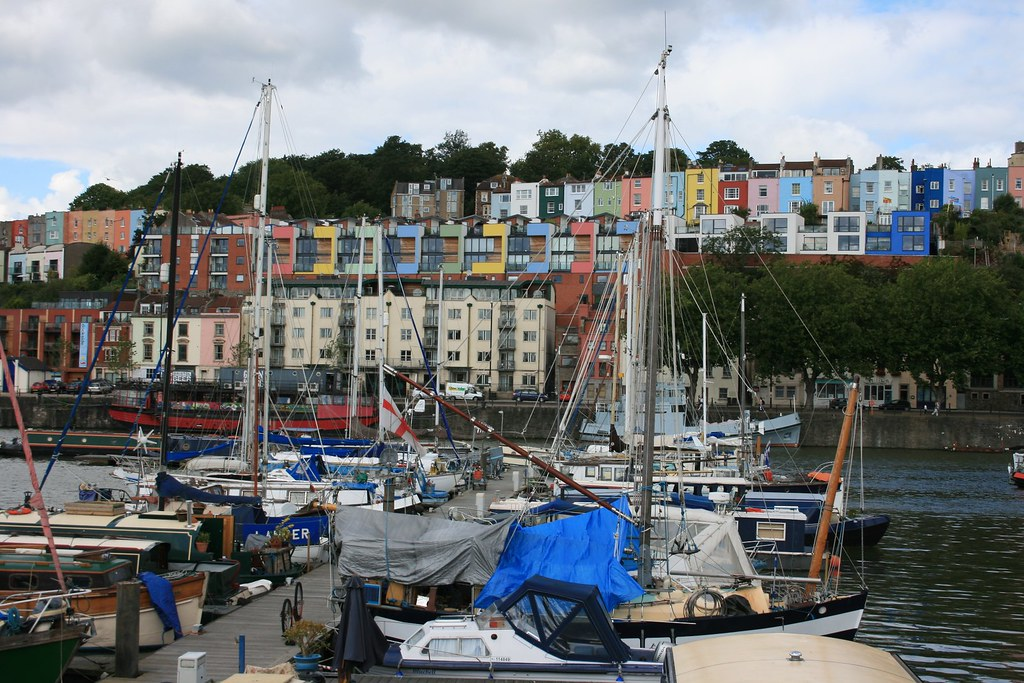 Bristol Docks and view of Clifton Wood.