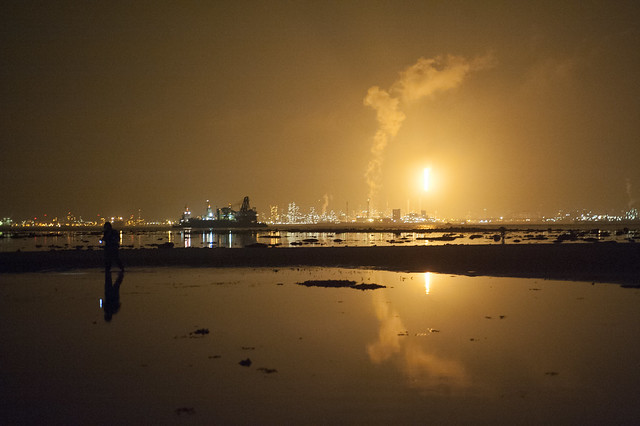 Flaring on Jurong Island seen from Cyrene Reef