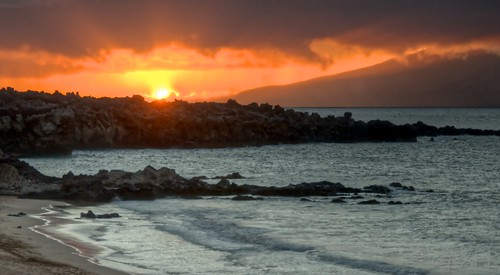 Kapalua sunset from Oneloa Bay