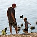 Small photo of Playing with the ducks at Almaden Lake