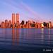 NYC, NY, Golden Twin Towers, World Trade Center, designed by Minoru Yamasaki, International Style II, sunset by Jake Rajs