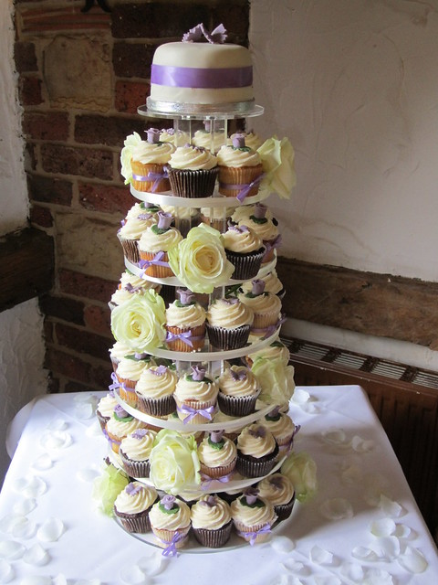 Purple Ivory Cupcake Tower Wedding at High Rocks Tunbridge Wells Kent