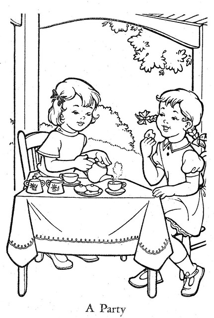 vintage coloring pages of children - photo#22