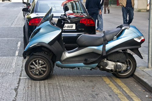 The Piaggio MP3 is a tilting three-wheeled scooter - scooters