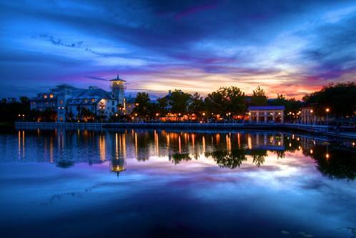 street sunset water night lights exposure florida celebration hdr