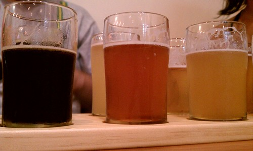 A flight of beer at the August 2011 Flying Pigeon LA Brewery Ride to Eagle Rock Brewery
