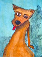orange(0.0), russkiy toy(0.0), pinscher(0.0), fox(0.0), animal(1.0), dog(1.0), pet(1.0), mammal(1.0), english toy terrier(1.0), illustration(1.0),