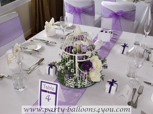 Purple and White Wedding Decorations