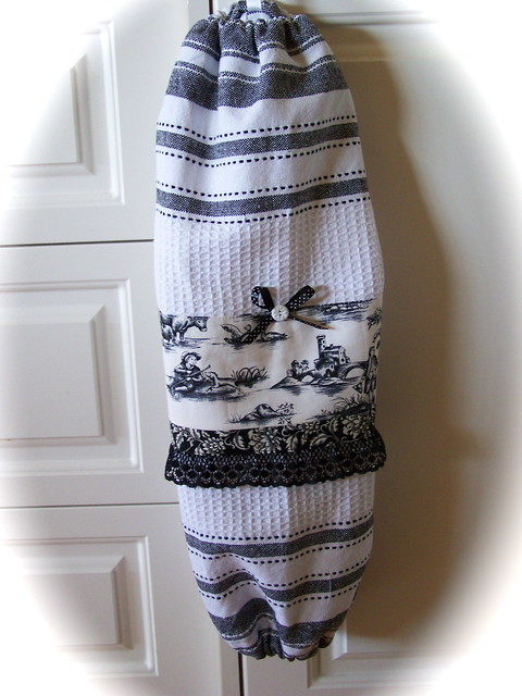 Black Toile Kitchen Towels