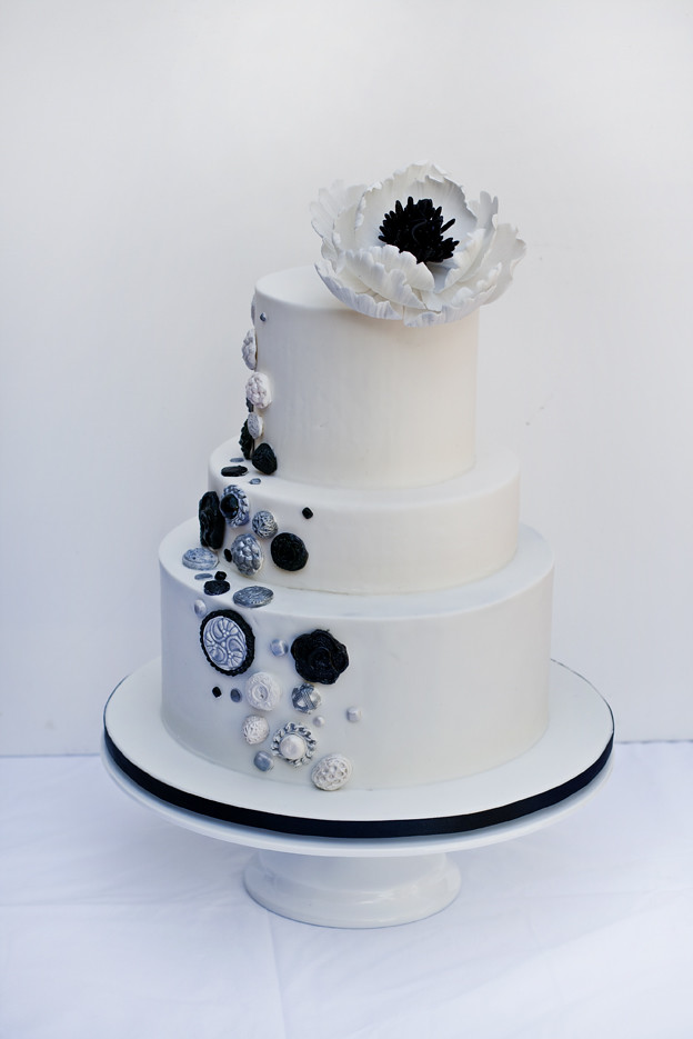 Black white and silver button Wedding Cake
