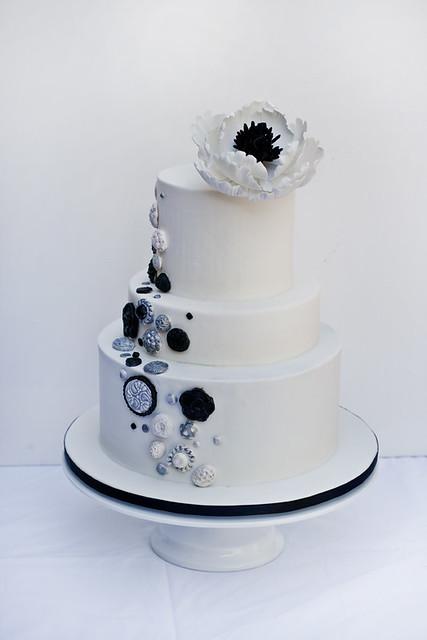 Black, white and silver button Wedding Cake
