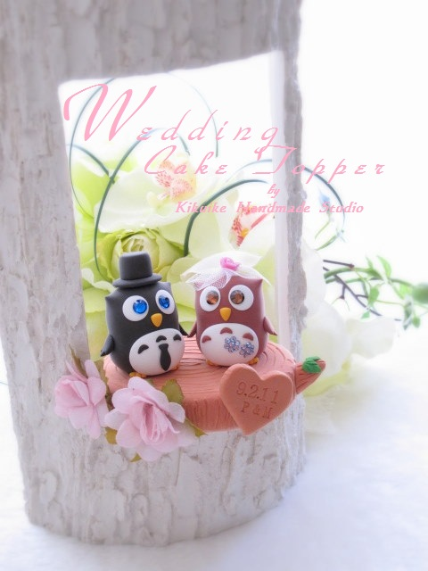 Wedding Cake Topperlove owls with stump