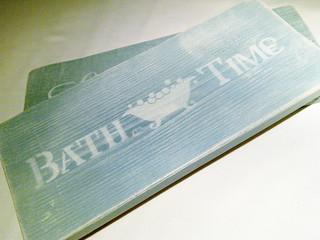 Handmade Solid Wood Bathroom 'Bathtime' Sign / Shelfsitter